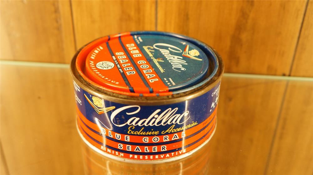 1950's Cadillac Blue Coral Automotive finish sealer tin with Cadillac logo. - Front 3/4 - 179003