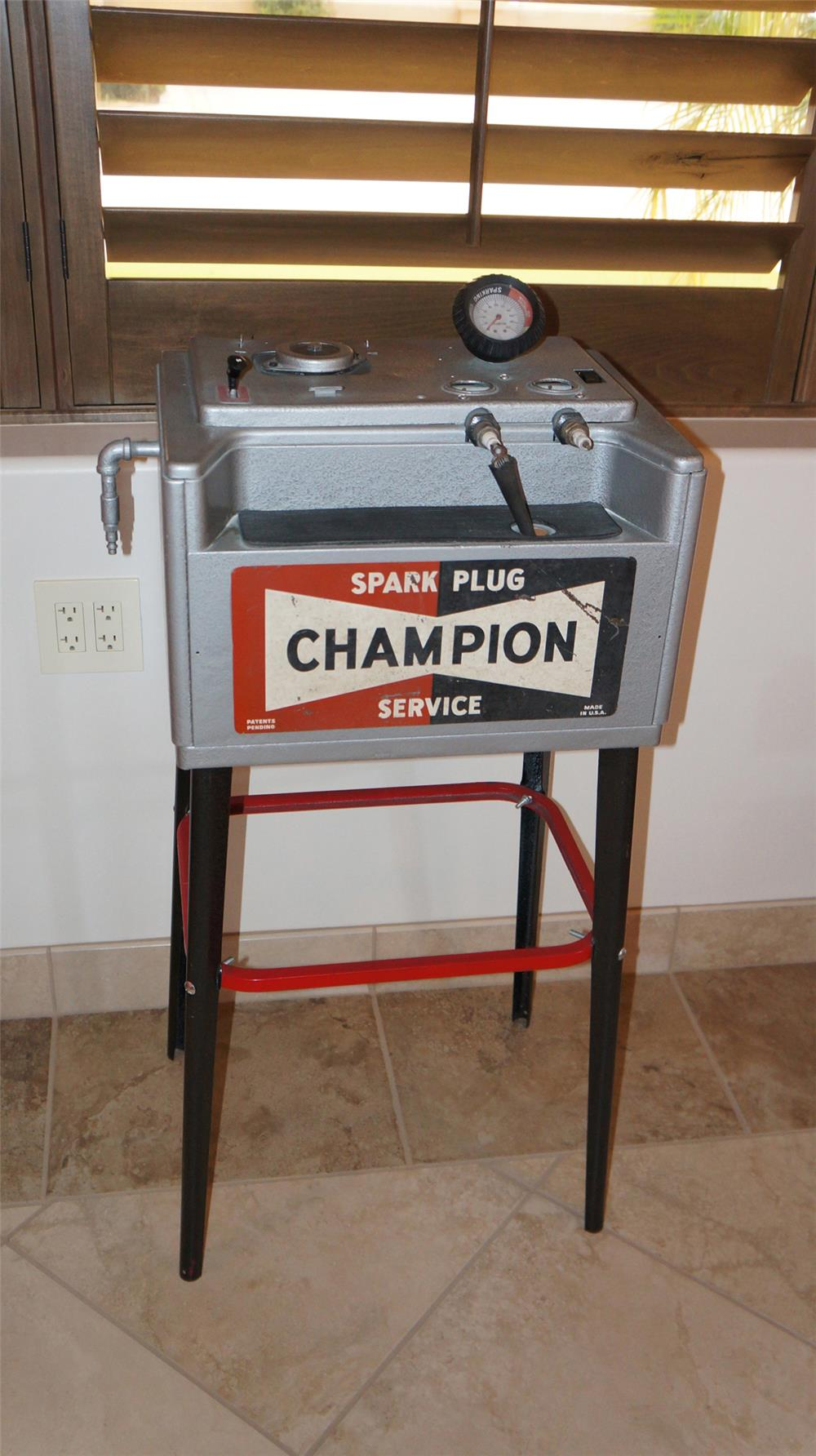 All original Champion spark plug service station plug cleaner on stand. - Front 3/4 - 179010