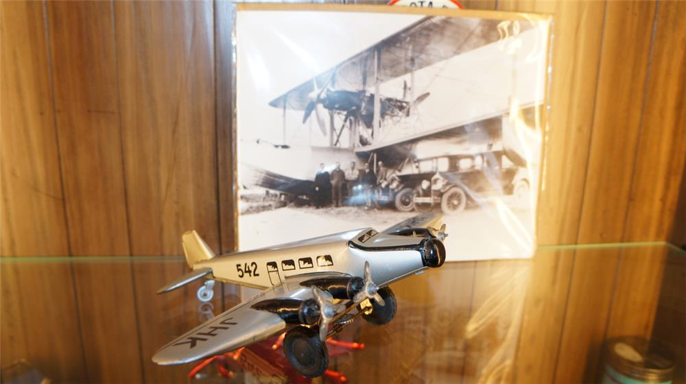 1940's German four engine tin litho airplane with aviation photo included. - Front 3/4 - 179013