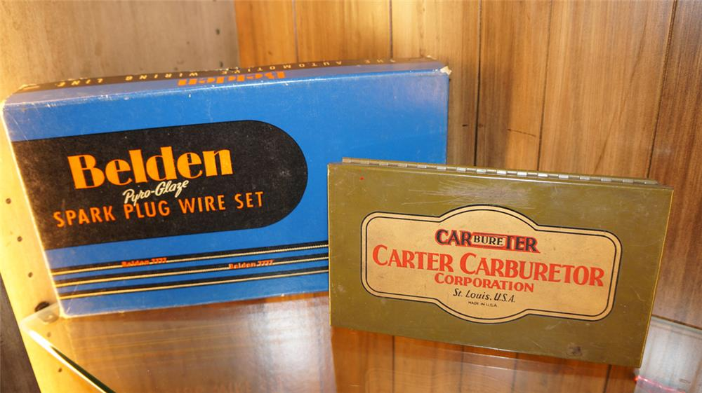 Lot of two 1930's Service station kits consisting of Carter carburetor and Belden spark plug wire set. - Front 3/4 - 179018