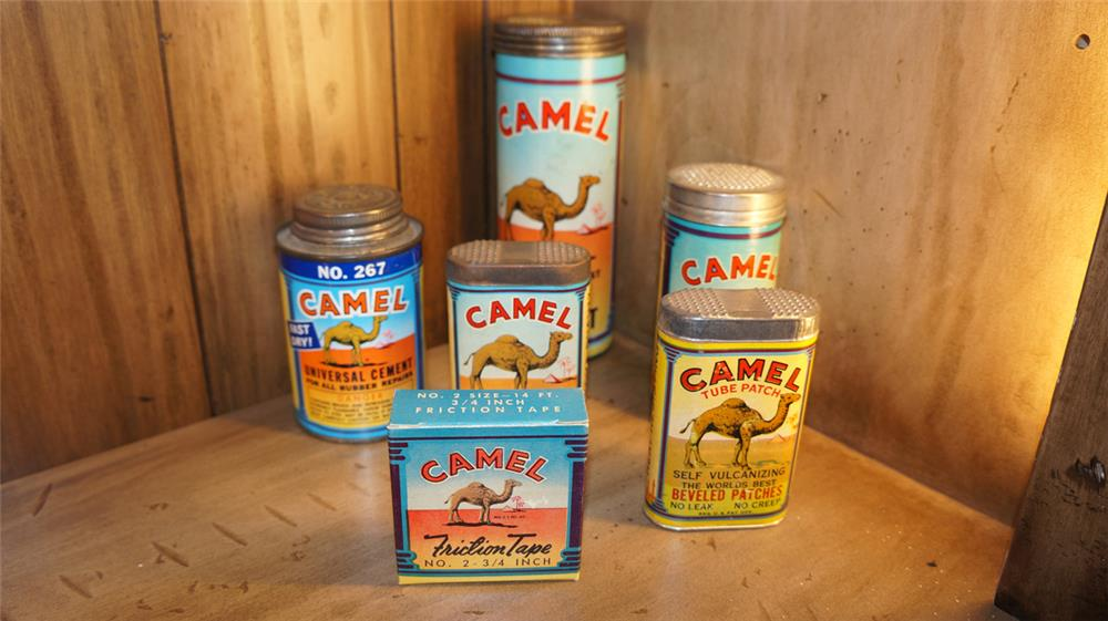 Lot of six circa 1930's-40's Camel tube repair patch kits with nice graphics and colors. - Front 3/4 - 179020