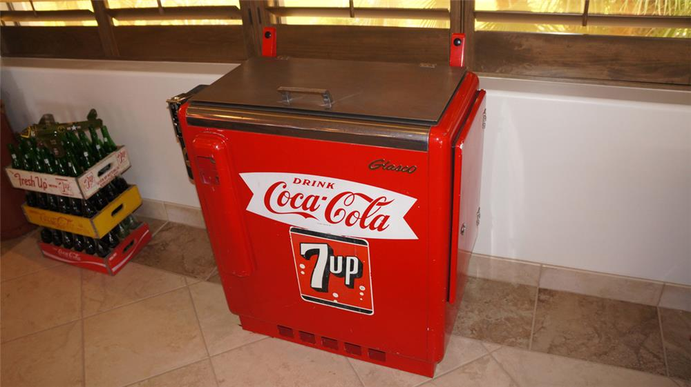 Impressive 1950's all original Glasco Coca-Cola ten cent slider soda cooler machine. - Front 3/4 - 179030
