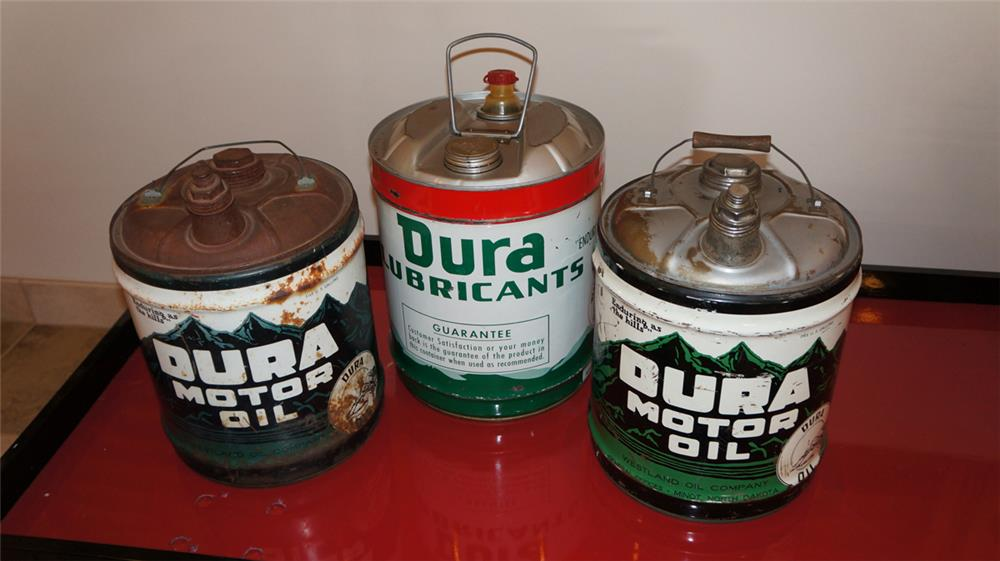 Lot of three Westland Buffalo Gasoline Dura motor oil 5 gallon tins with spouts. - Front 3/4 - 179032