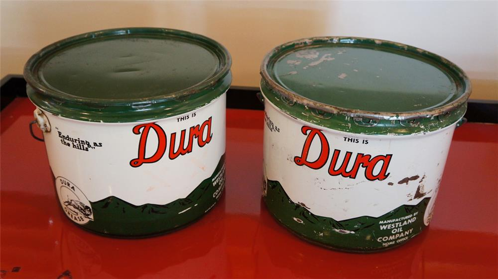 Lot of two Westland Buffalo Gasoline Dura twenty five pound grease tins. - Front 3/4 - 179033