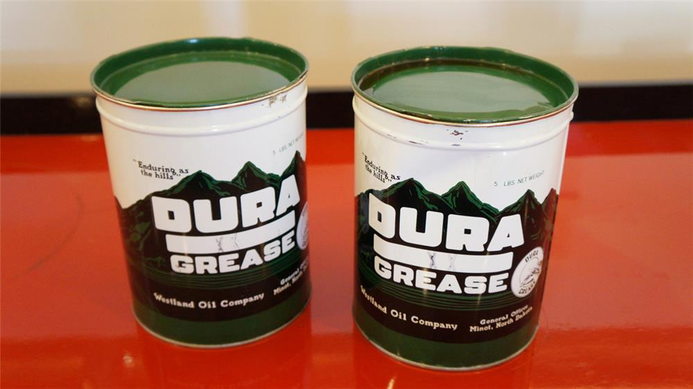 Lot of two 1930's Westland Buffalo Gasoline Dura grease ten pound tins. - Front 3/4 - 179035