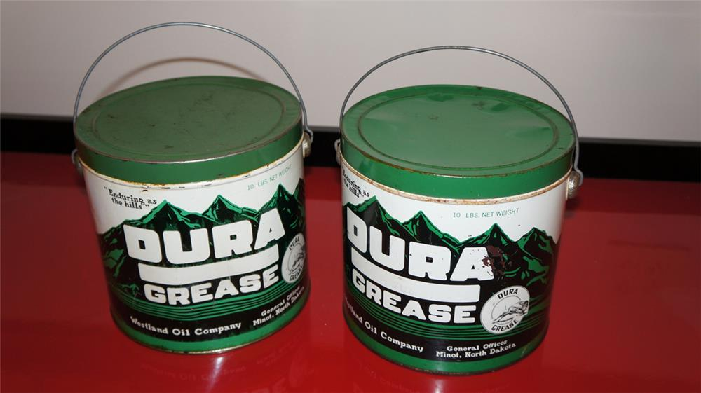 Lot of two Westland Dura grease twenty five pound tins with nice colors and graphics. - Front 3/4 - 179036