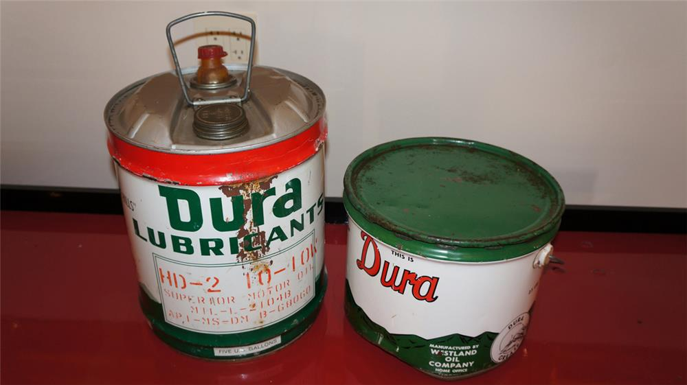 Lot of 2 Dura service station tins consisting of a five gallon Oil and twenty five pound grease tins. - Front 3/4 - 179038