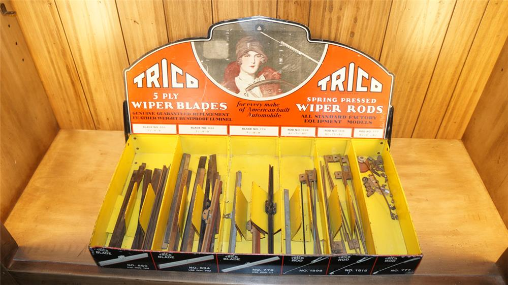 Rare 1920's-30's Trico Wiper Blades and Rods service station metal counter top display with wonderful period graphics. - Front 3/4 - 179047