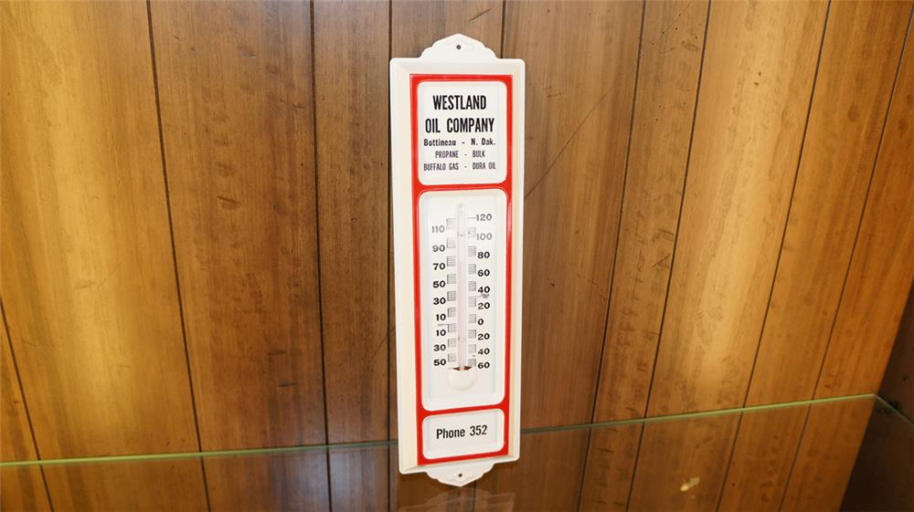 N.O.S.  1952 Westland Oil promotional single-sided tin thermometer with Phone 352. - Front 3/4 - 179065
