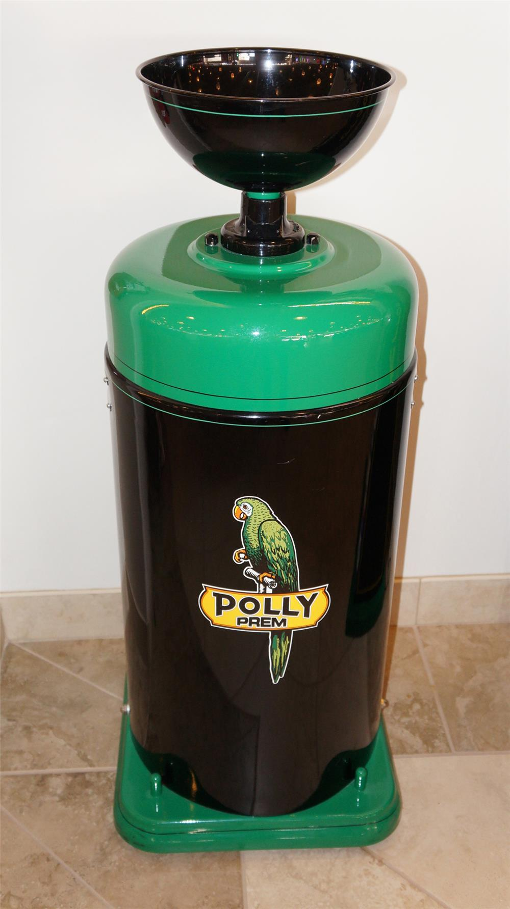 Beautifully restored Polly Oil service department oil collector on wheels. - Front 3/4 - 179068