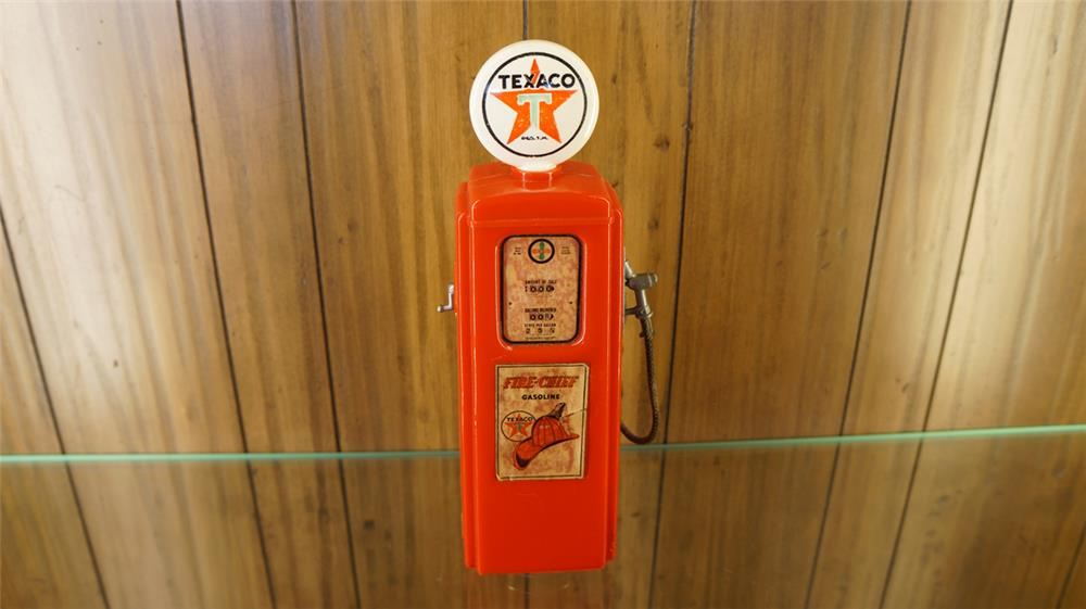 1950's Texaco gas pump shape promotional coin bank. - Front 3/4 - 179078