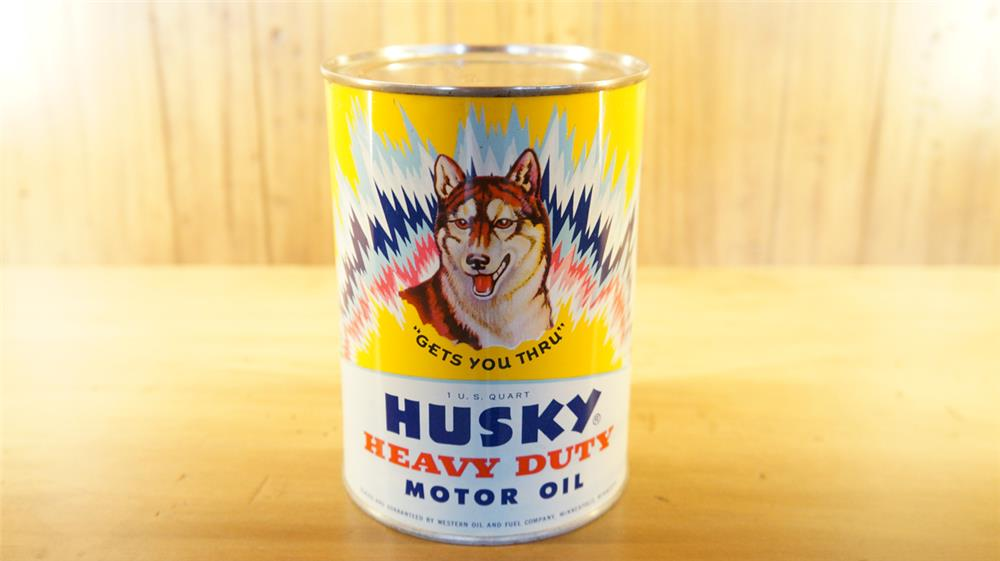 Rare 1940's Husky Motor Oil metal quart can with Husky dog graphic. - Front 3/4 - 179086