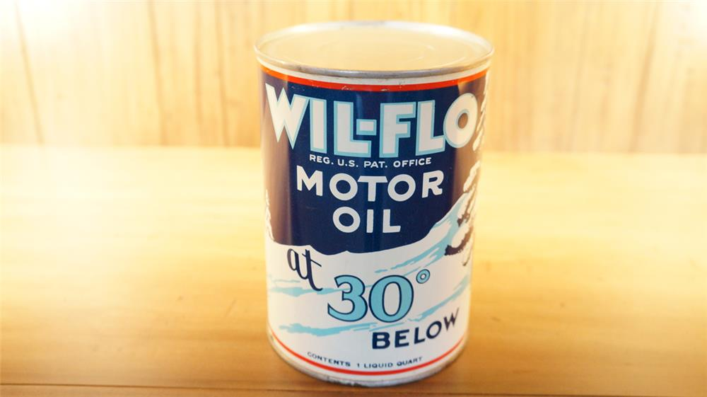 Fabulous 1930's Ace High Wil-Flo motor oil metal quart can still full with winter theme and period sedan depicted. - Front 3/4 - 179087