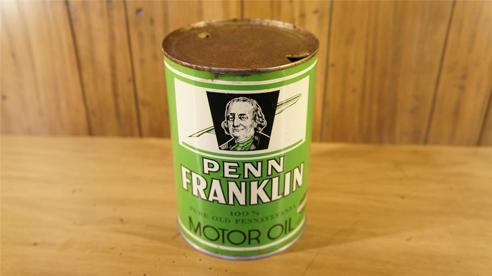 Scarce 1930's Penn Franklin Motor Oil metal quart can. - Front 3/4 - 179089