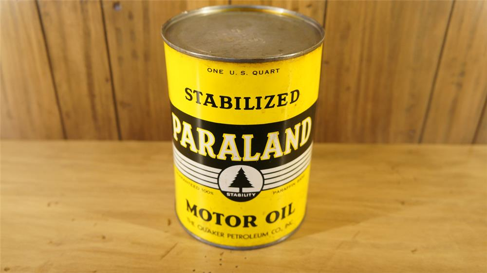 Rare 1930's Paraland motor metal quart can still full. - Front 3/4 - 179091