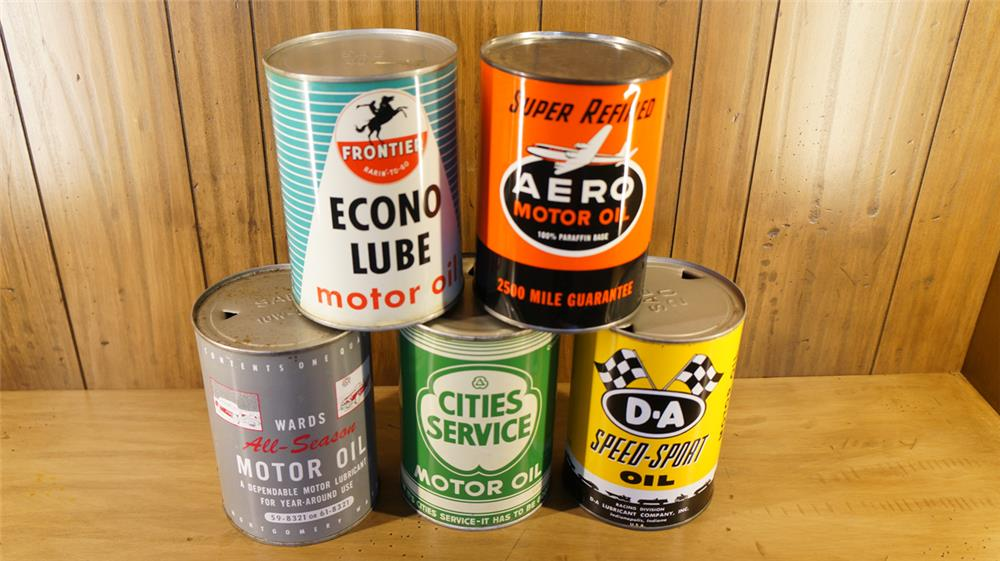 Lot of five metal oil quart cans consisting of Frontier, Wards, Aero, D-A, and Cities service. - Front 3/4 - 179092