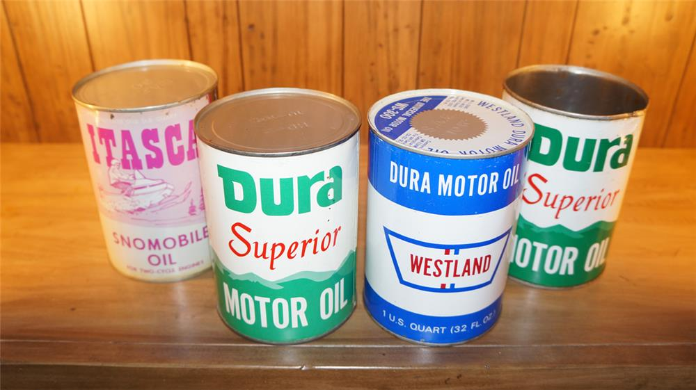 Lot of four circa 1950's-60's Westland Buffalo Gasoline motor oil metal and paper quarts. - Front 3/4 - 179094