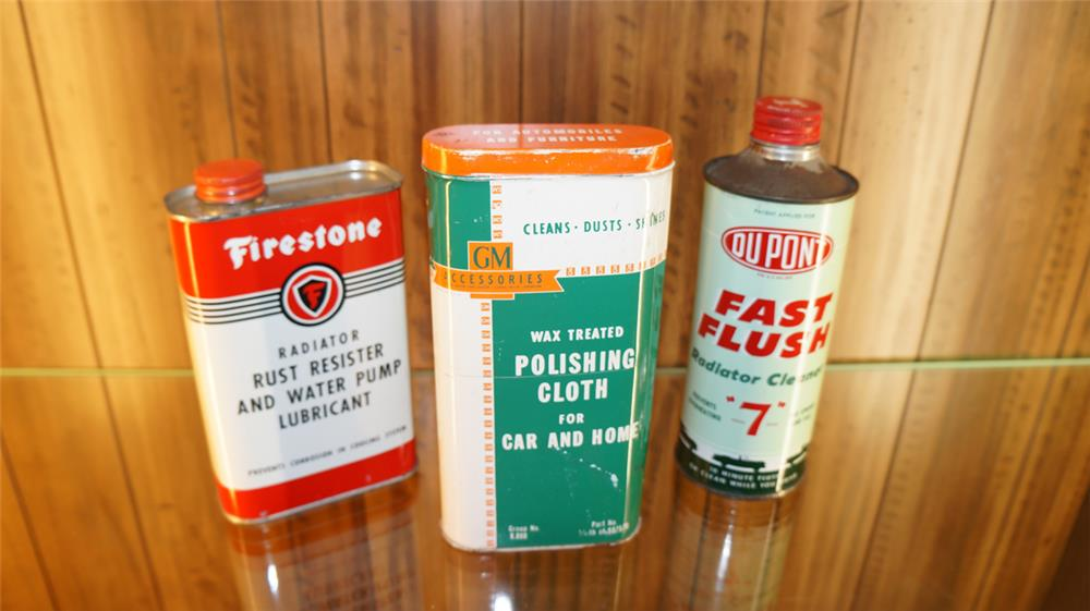 Lot of three 1950's automotive tins consisting of Firestone, GM, and Dupont. - Front 3/4 - 179102