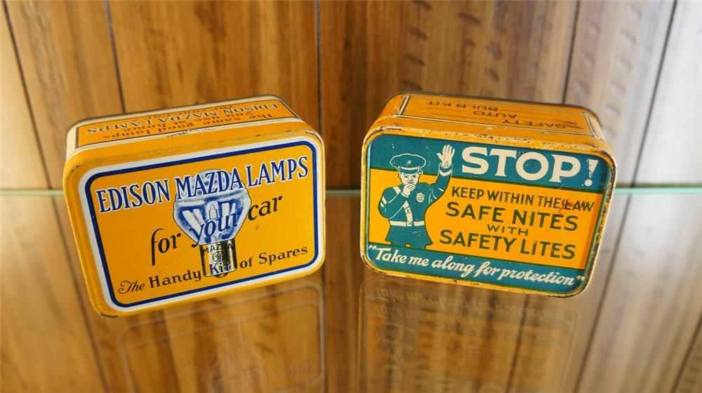 Lot of two 1930's Emergency Automotive bulb tins consisting of Edison and Safety Lites. - Front 3/4 - 179103