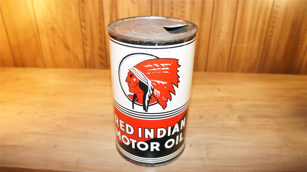 Scarce Red Indian Motor Oil one quart Imperial tin with nice graphics. - Front 3/4 - 179104