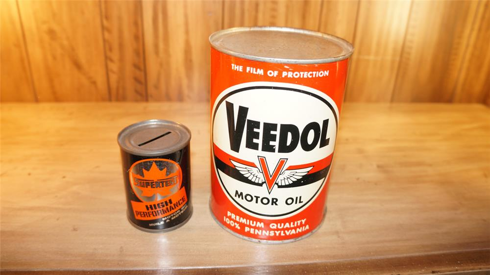 Lot consisting of Veedol Motor Oil metal quart still full and a Supertest coin bank. - Front 3/4 - 179105