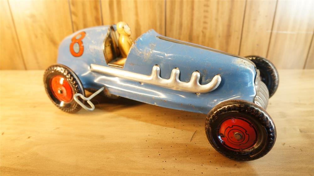 Choice 1940's  pressed steel number 8 wind-up grand prix toy race car with driver. - Front 3/4 - 179107