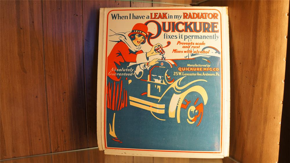 Fantastic late 1920's Quickure Radiator Repair single-sided tin counter top display sign with nice graphics. - Front 3/4 - 179116