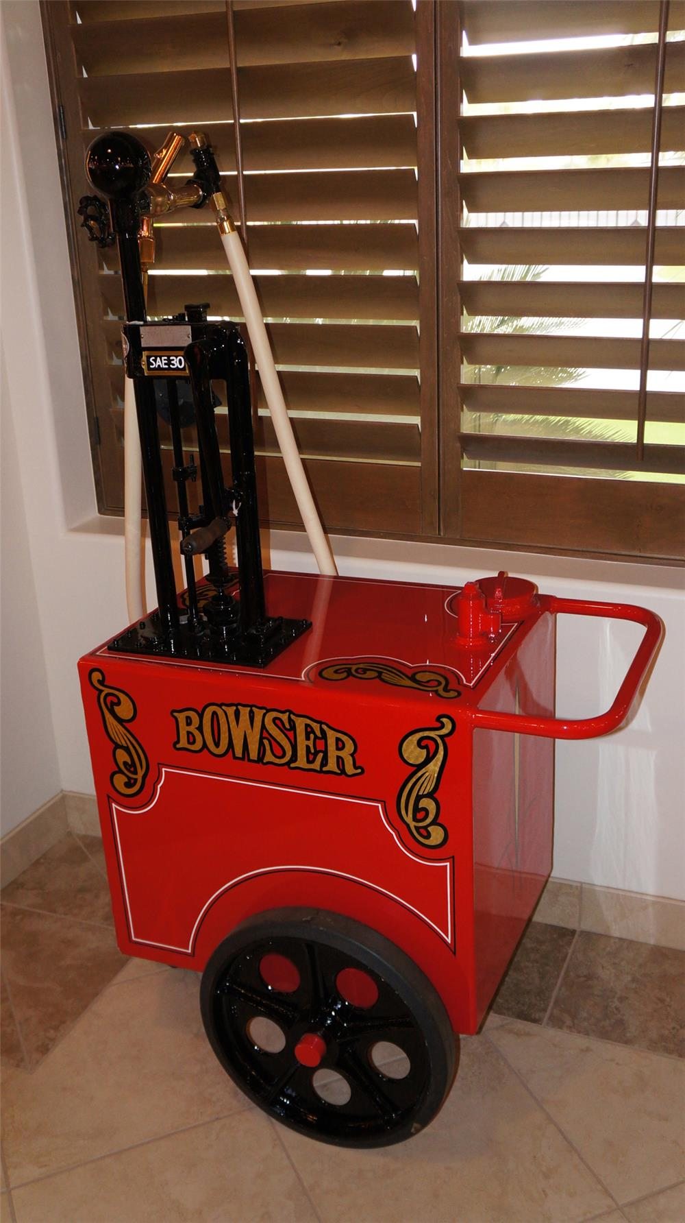 Sharp late 1920's Bowser model 154 restored service filling station gas cart. - Front 3/4 - 179123