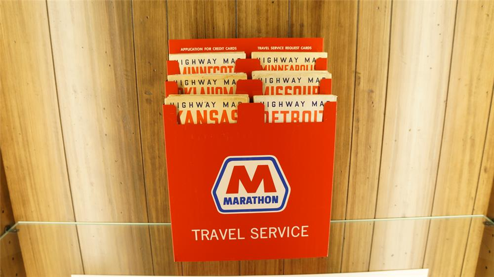 N.O.S 1950's-60's Marathon metal map rack filled with Standard oil maps. - Front 3/4 - 179127