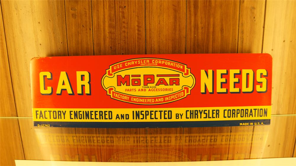 Clean 1940's Mopar Car Needs single sided tin rack sign. - Front 3/4 - 179130