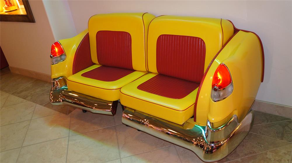 1953 Cadillac restored rear end car couch, beautiful two toned upholstery, working lights, fabulous design which can either be used as a chair or couch. - Front 3/4 - 179134