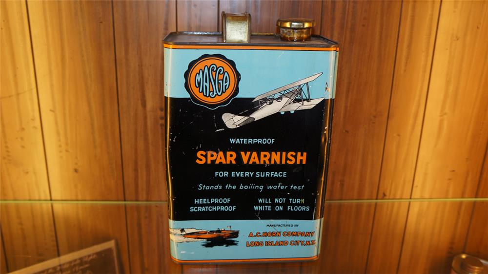 Sharp 1920's Masga Spar Varnish for airplanes and boats one gallon tin - Front 3/4 - 179135