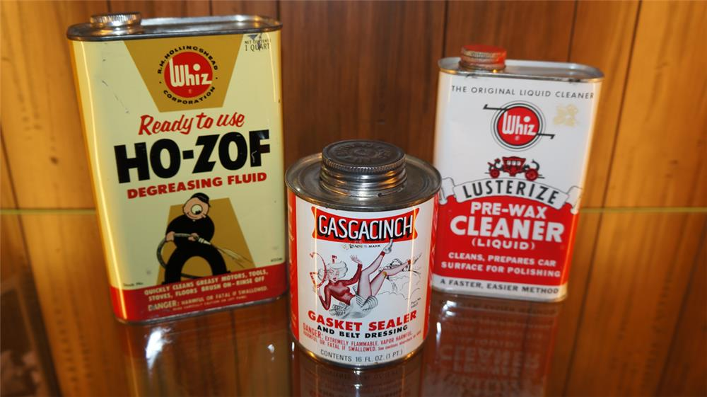 Lot of two 1950's Whiz tins and a Gasgacinch gasket sealer tin - Front 3/4 - 179137