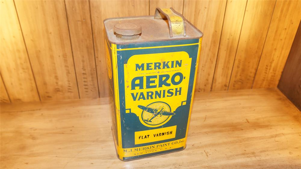 1920's Merkin Aero-Varnish for airplanes one gallon tin with nice graphics - Front 3/4 - 179146