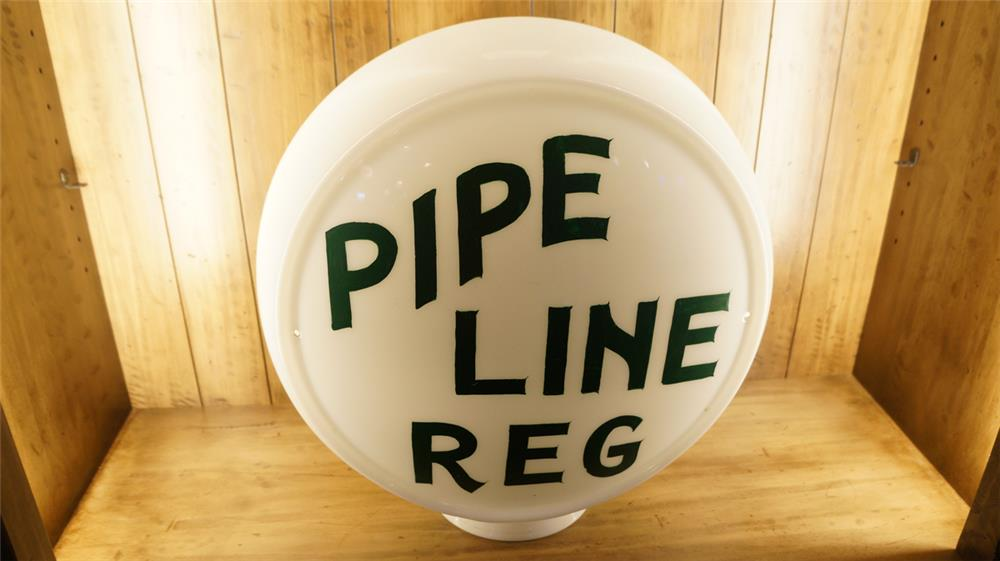 Circa 1940's Wide bodied milk glass gas pump globe painted as Pipe Line Regular gas. - Front 3/4 - 179147