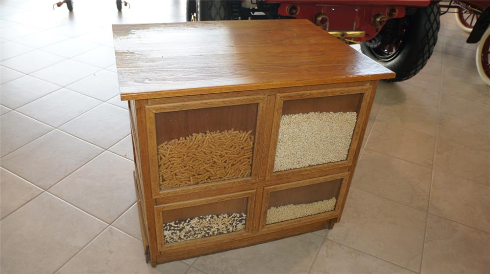 Turn of Century general store 4 selection oak bean counter. - Front 3/4 - 179151