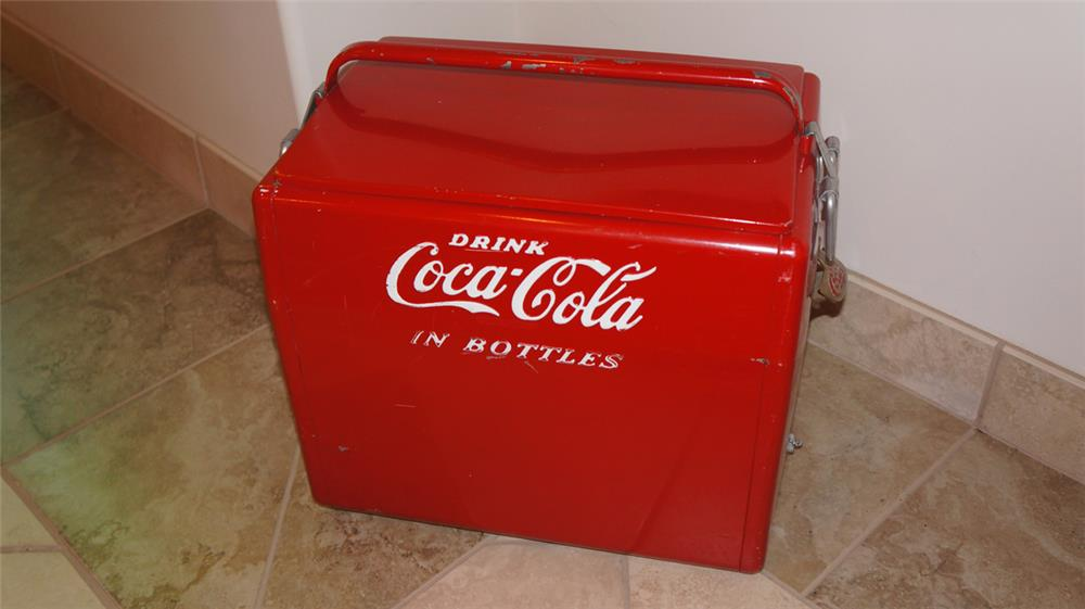 Large 1950's all original Coca Cola picnic cooler with opener Condition: Excellent - Front 3/4 - 179155