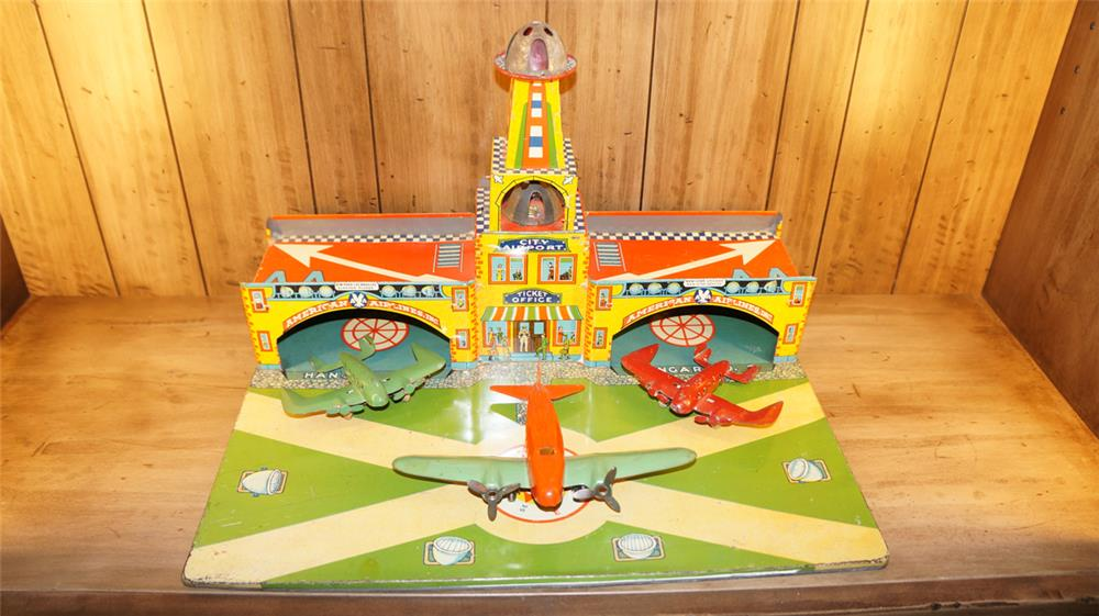 1930's City Airport by Marx toys with three press steel airplanes - Front 3/4 - 179156