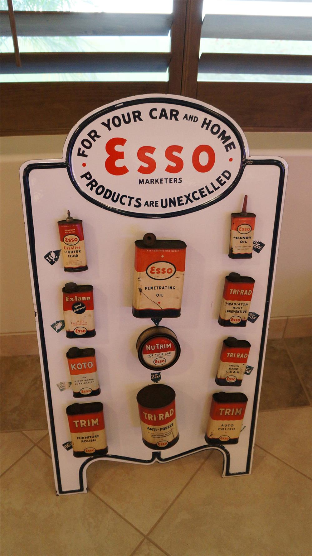 1930's Esso For Your Car and Home porcelain service station fuel island display with cans. Condition: Rack:  Excellent+  Cans: Very Good - Front 3/4 - 179160