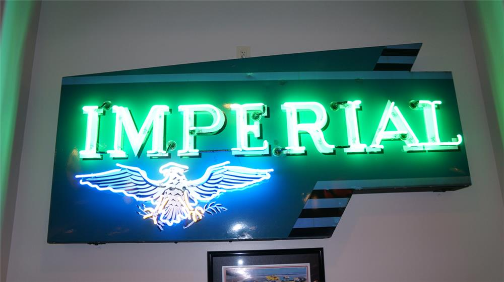 Rare 1950's Chrysler imperial Automobiles single sided porcelain neon dealership sign, Only neon sign to have period automotive styling. Condition: Excellent - Front 3/4 - 179161