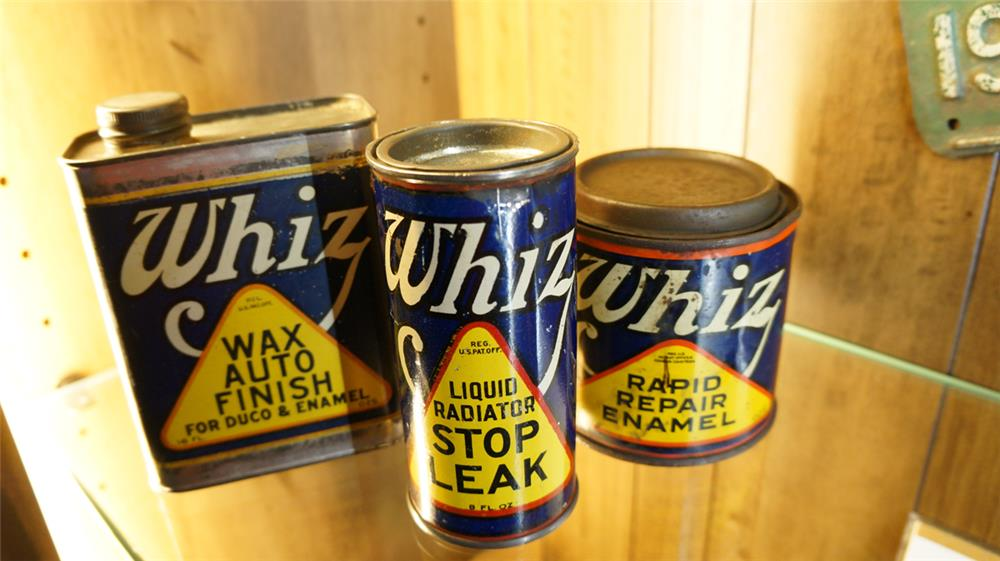 Lot of 3 1920's Whiz automotive product tins. Condition: Good+ thru Excellent - Front 3/4 - 179163