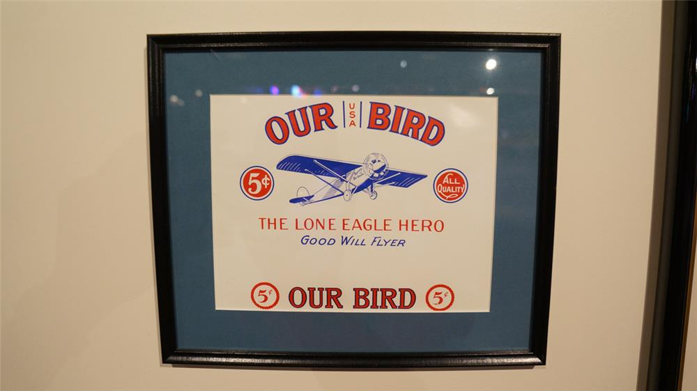 N.O.S.  Our Bird 5 cent Cigar Spirit of St Louis box label. - Front 3/4 - 179166