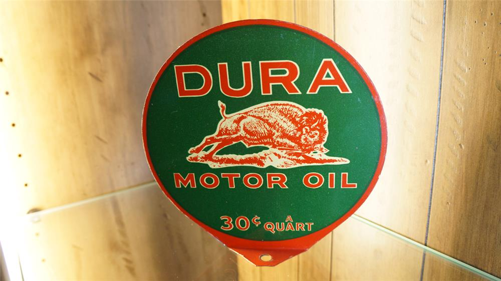 Scarce N.O.S Westland Buffalo Gasoline Dura Motor Oil double-sided tin lubester plate sign with Buffalo graphic. - Front 3/4 - 179170