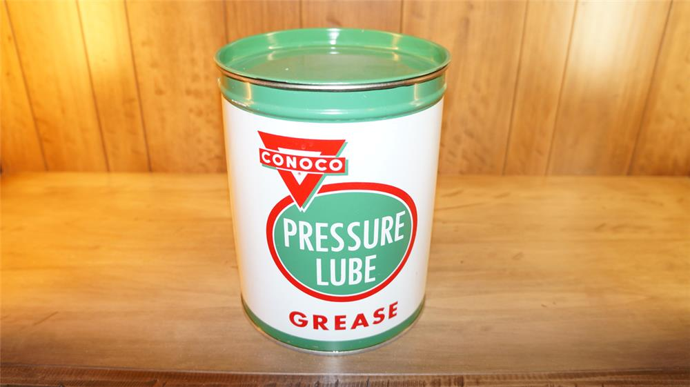 N.O.S. 1940's  Conoco five pound grease tin found unused. Condition:9.25+ - Front 3/4 - 179177