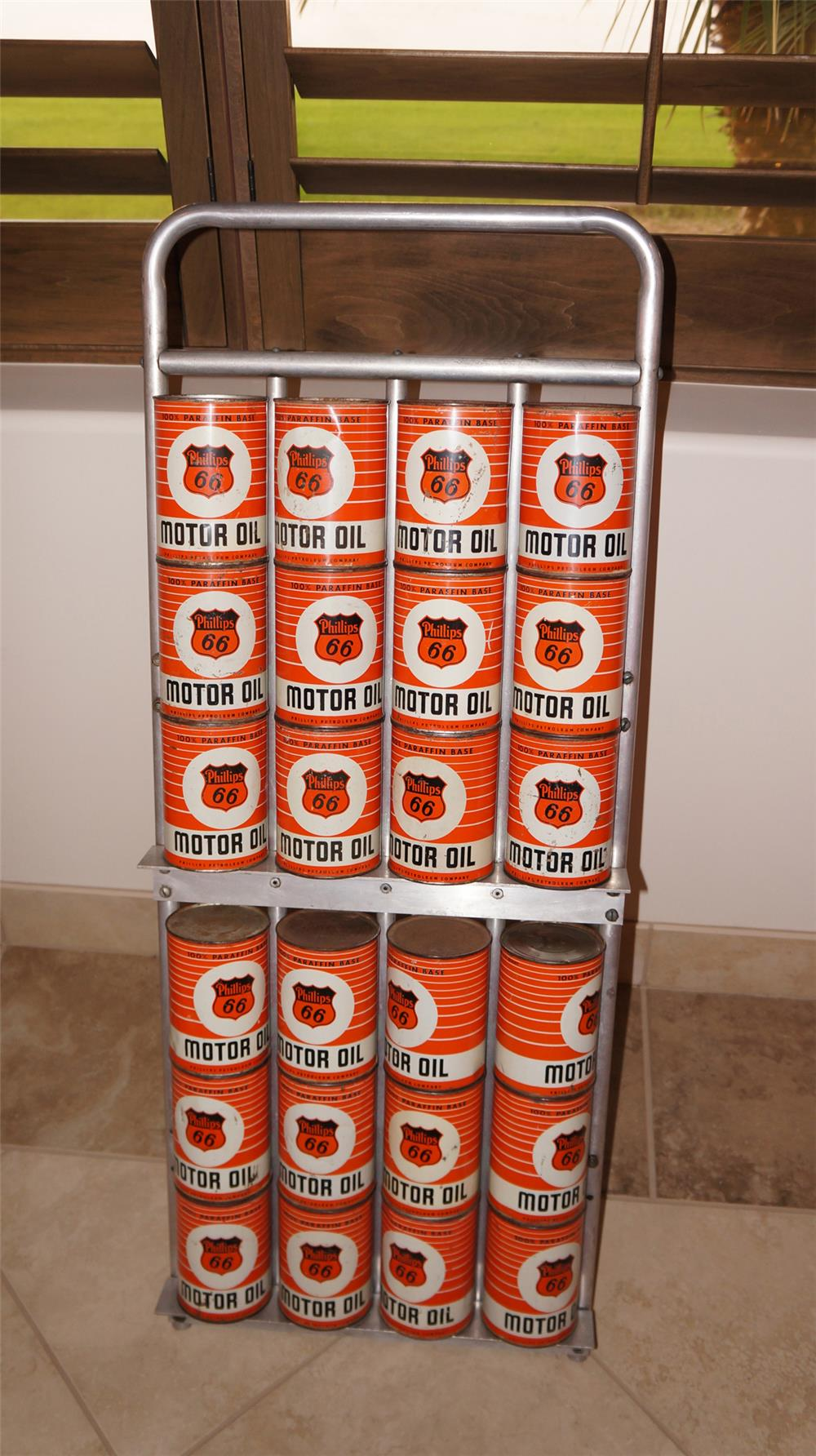 1950's Philips 66 service station fuel island quart can display rack on wheels filled with 24 original period cans. - Front 3/4 - 179185