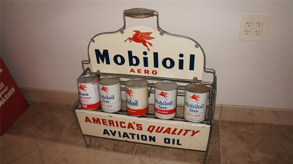 1930's Mobil Oil Aero-Aviation Oil airport quart can display rack with 5 vintage mobile oil quarts.. Condition: Rack Excellent  Cans 8.0-9.25 - Front 3/4 - 179186