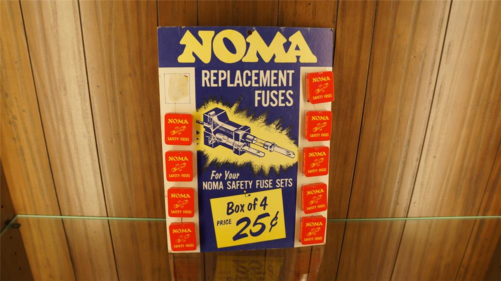 1940's Noma Replacement Automotive Fuses counter-top garage display cardboard with product. Condition: Excellent - Front 3/4 - 179192