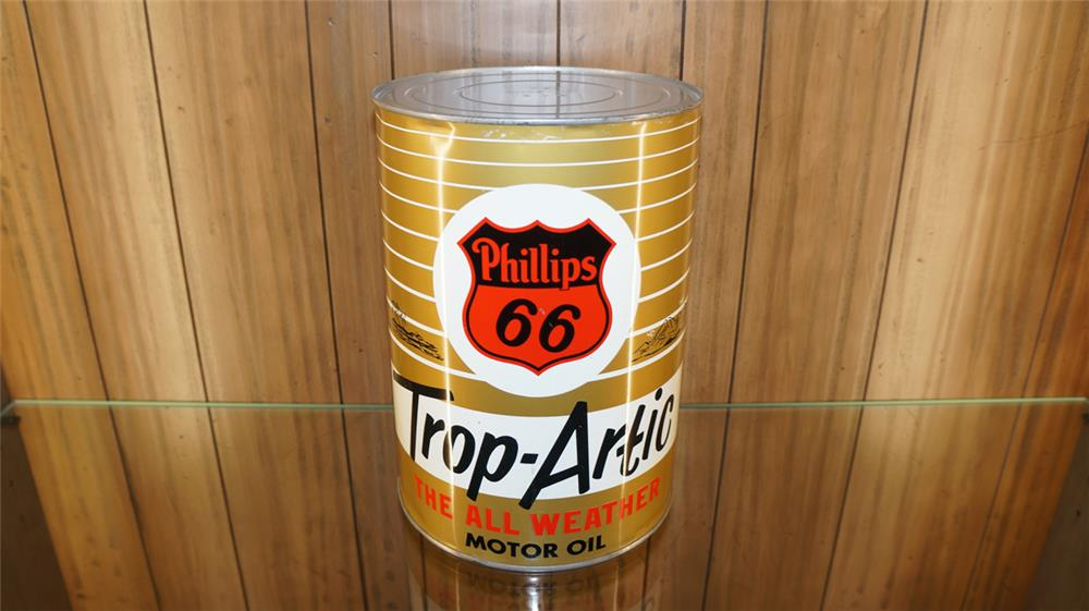Choice 1950's Phillips 66 Trop Artic Motor Oil five quart metal tin. Condition: Excellent ++ - Front 3/4 - 179195