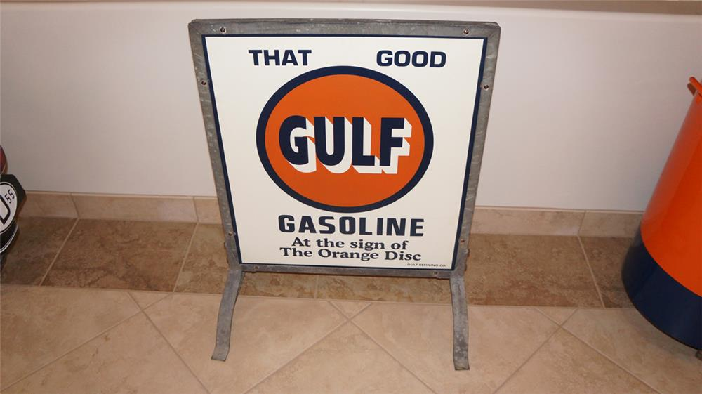 """Very clean """"That Good Gulf"""" double-sided tin service station curb sign in the original stand. Circa Unknown. - Front 3/4 - 179197"""