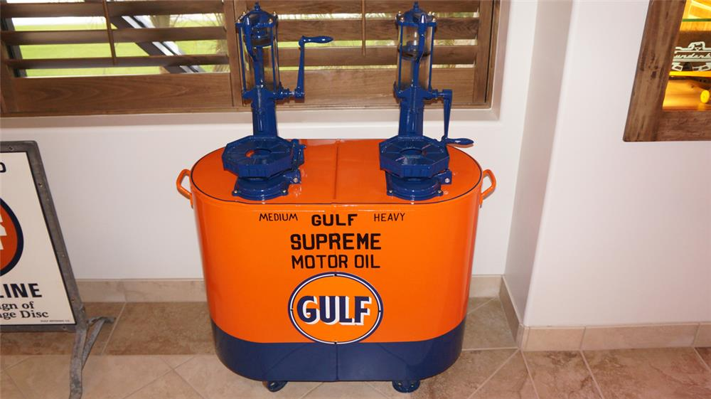 Choice 1920's Gulf Oil filing station restored dual head lubester cart with glass cylinders - Front 3/4 - 179198